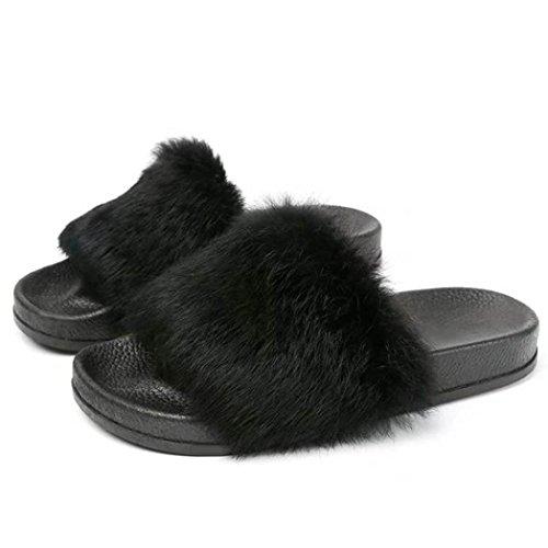 Pantofola donna ,feixiang® donna piatta antiscivolo morbido soffice pelliccia finta pantofola flip flop sandalo(gomma) (38, nero)