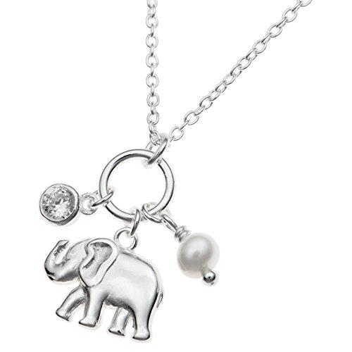 Colgante de plata de ley 925 con diseño de elefante de la suerte, perla de agua dulce natural, cristal de circonita cúbica, cadena de 40,6 cm + extensor de 2,5 cm