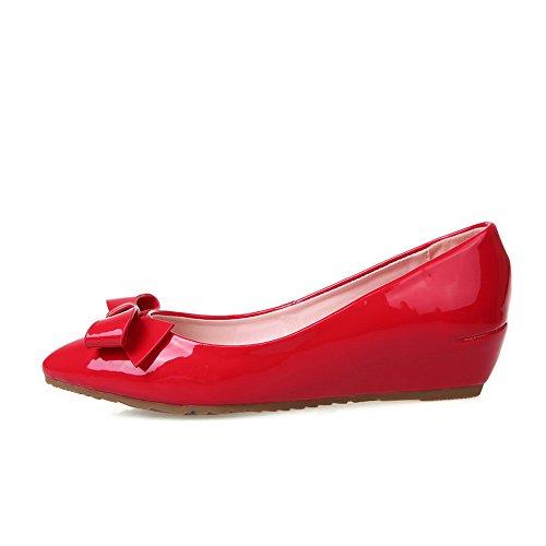 BalaMasa Girls Floriation linguetta di estrazione, in pelle verniciata, pompe di scarpe Red
