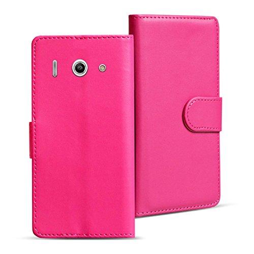Verco Huawei Y300 Hülle, Handyhülle für Huawei Ascend Y300 Tasche PU Leder Flip Case Brieftasche - Pink