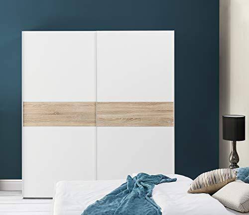 Movian - Armoire à portes coulissantes Loue, 183 x 202 x 60cm, Blanc/Chêne Sonoma
