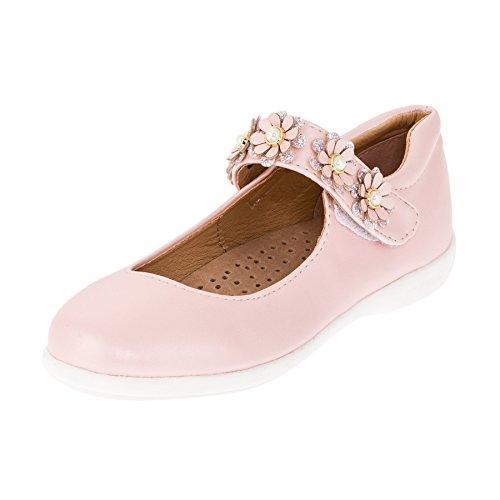 Festliche Mädchen Ballerinas Schuhe mit Echt Leder Innensohle M418rs Rosa 26