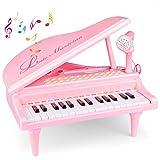 Joylink Rosa Pianoforte Giocattolo, 31 Tasti in Bianco e Nero, 26 Tasti Funzione, Strumento Multifunzione con Microfono, Strumento Educativo per Ragazza