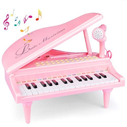 Joylink Klavier Keyboard Spielzeug, 31 Tasten Spielzeug Keyboard mit Mikrofon Pink Elektronische Musik Multifunktionale Instrumente für Kleinkind und Kinder Geschenk