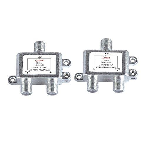 safercctv (2Stück) 2-Wege 5-2400MHz Koax-Kabel Splitter 1in 2out für RG6RG59Koax Kabel HDTV Satellite -
