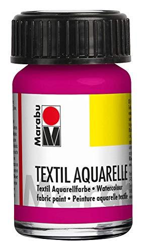 Marabu 17090039014 - Pintura para Acuarelas (Base de Agua, para Tejidos claros, Olor Neutro, Resistente a la luz, Resistente a la Saliva, Tacto Suave, 15 ml), Color Magenta y Rosa