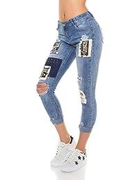 Instyle Trendy Jeans mit Flicken und Nieten, Optik im Used-Look
