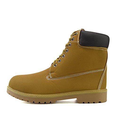 Kick Footwear Herren PU Leder Komfort Winter Warm Fell Gefüttert Lässige Outdoor Stiefel Schuh Camel