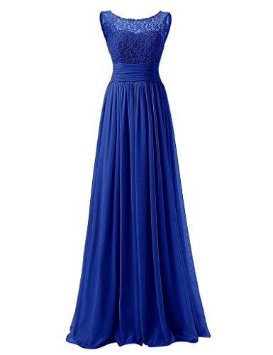 HUINI Spitze-Chiffon- lange Abend-Abschlussball -Kleid Plissee Brautjungfernkleid Königsblau