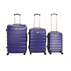 Dublín 2- combinación de número de 3 maletas de ABS y policarbonato -trolley- con 4 ruedas giratorias de 360 °, varios colores (Azul))