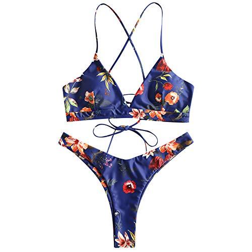 ZAFUL Damen Bikini-Set Geblumtes Bikini Set mit Schnürung Push Up Gepolsterte Bademode Bikinis Swimwear Swimsuit Blau Small
