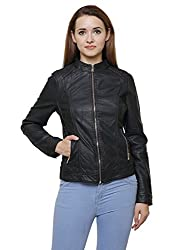 MansiCollections Classic Black Leather Jacket for Women