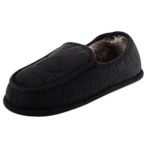 Chaussons pour homme avec doublure en fausse fourrure douce au toucher et semelle antidérapante Noir