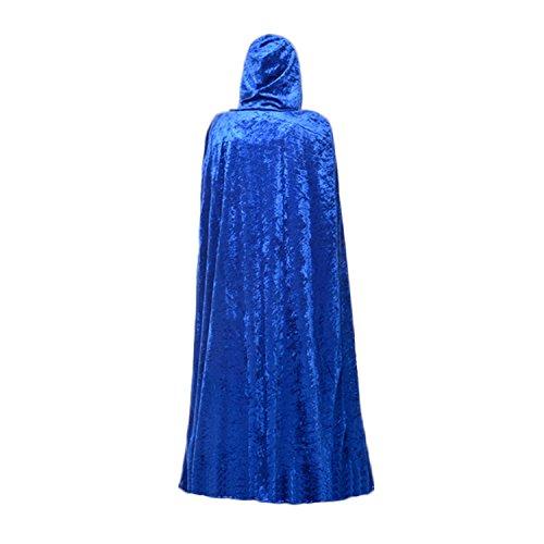 Mantello di velluto con cappuccio da Halloween, Natale, festa in costume, travestimento, 170cm, colore blu., Blue, taglia unica