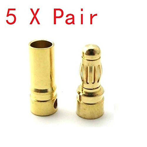 Ladicha 5X Pairs 4Mm Gold Bullet Connector Banana Plug For Esc Battery Motor