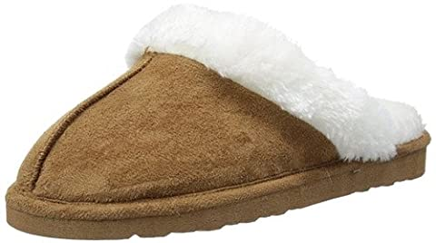 Ladies Famous DUNLOP SARAH faux suede mule slippers with faux fur lining & cuff CHESTNUT size 8 UK