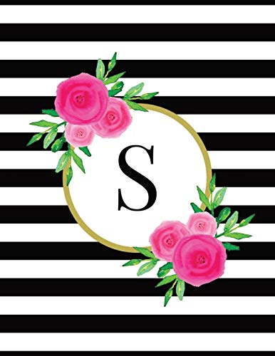 131034d59 Black and White Striped Pink Floral Monogram Journal with Letter S