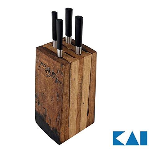 Exklusives Messerblockset von Kai Wasabi Black 67-W18 ultrascharfes Kochmesser-Set, Kochmesser+Allzweckmesser+ Officemesser + Brotmesser +massiver Messerblock aus Alten Fassdauben (Eiche)