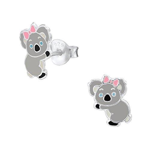 Laimons Mädchen Kids Kinder-Ohrstecker Ohrringe Kinderschmuck Koalabär Australien Koalas Schleife Grau Weiß aus Sterling Silber 925