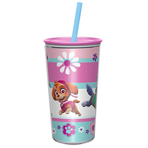 Zak Designs 10.5 oz Paw Patrol Girl Insulated Tumbler With Lid, Straw And Embossed Artwork - Makes Character Pop Out, Insulation Prevents Condensation, And Fits In Most Cup Holders, Paw Patrol Girl