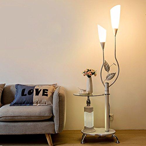 LOFAMI Moderne Stehlampe mit Glas Regalen, 2 Light White Acryl Lampenschirm, Metall Dekoration steht Lampe für Wohnzimmer Schlafzimmer, H171CM ( Color : White ) -