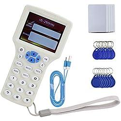 HFeng Anglais RFID Copieur NFC Lecteur Carte Lecteur Duplicateur 10 Programmeur de Fréquences + 125KHz / 13.56MHz Lecture/Écriture des Cartes-clés T5577 / EM4305