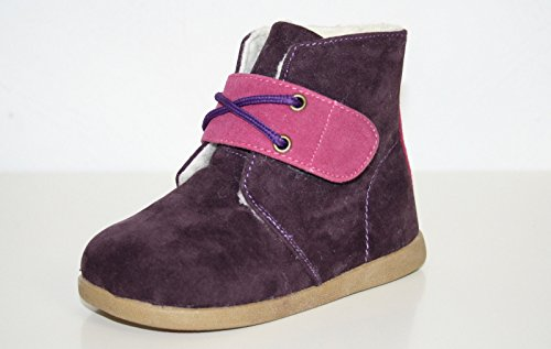 Little Blue Lamb - Chaussures semelle souple fille | Bottines velours violettes - Pointure: 27