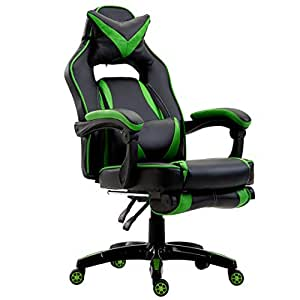 Cherry Tree Furniture CTF High Back Recliner Racing Style Gaming Swivel Chair with Footrest & Adjustable Lumbar & Head Cushion (Black & Green)