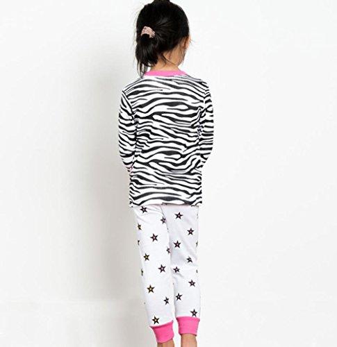 Backbuy-Printemps-Automne-Collection-Enfant-Fille--Manche-Longue-Rayures-toiles-Licorne-Pyjama