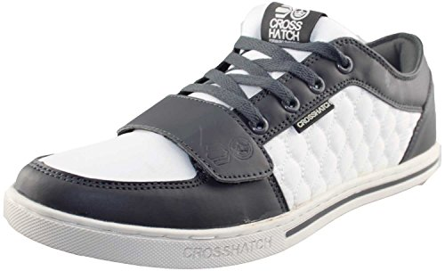 Crosshatch - Chaussure de Sport Lacet et Velcro Matelassé Design Running Blanc/Anthracite - EASTMOOR