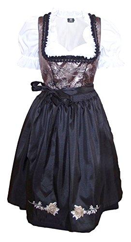 1-teiliges Midi-Dirndl Landhaus Kleid Dirndel ohne Bluse Schwarz/Braun, Größe:48
