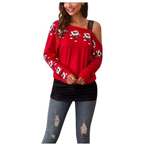 Sllowwa Weihnachten Damen Langarmshirts Schulterfrei Tshirt Rundhals Print Trägerloser Pullover Spleißen Tops T-Shirt Tunika Bluse
