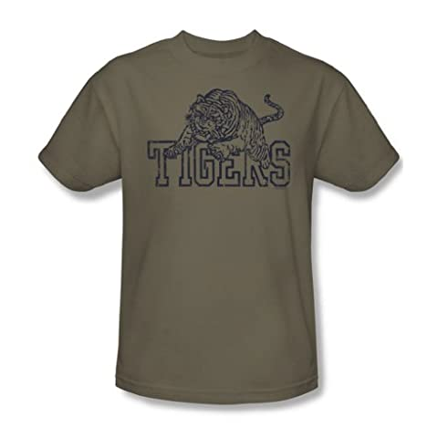 Tigers - Adult Safari Green S/S T-Shirt For Men, XX-Large, Safari Green