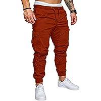Pantalones elásticos para los hombres, Pantalones de moda de los hombres del color sólido,