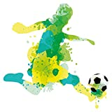 Wandtattoo Kinderzimmer Aquarell Fußballer gelb grün Wandsticker Dekoration