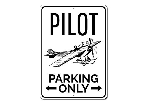 The Lizton Sign Shop Pilot Parking Only Metall Schild, Personalisierbar, Flugzeug Pfeile Geschenk, Aviator Aviation Lover Man Cave Garage Decor Qualität Aluminium Schild, Aluminium, 2 12