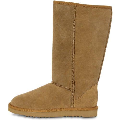 FARASION Damen warme Winter Wildleder Boots / Stiefel mit hohem Schaft - Echt Leder - SBO013 Camel