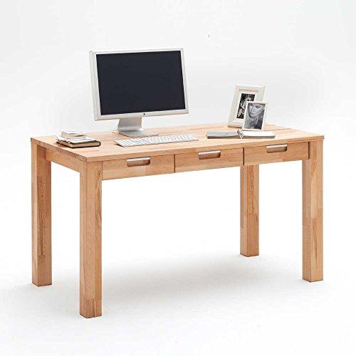 Pharao24 Schreibtisch mit Schubladen Kernbuche Massivholz