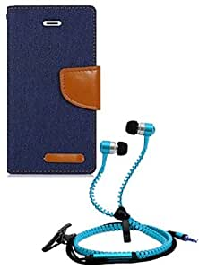 Aart Fancy Wallet Dairy Jeans Flip Case Cover for Redmi2S (NavyBlue) + Zipper Earphones/Hands free With Mic *Stylish Design* for all Mobiles- computers & laptops By Aart Store.