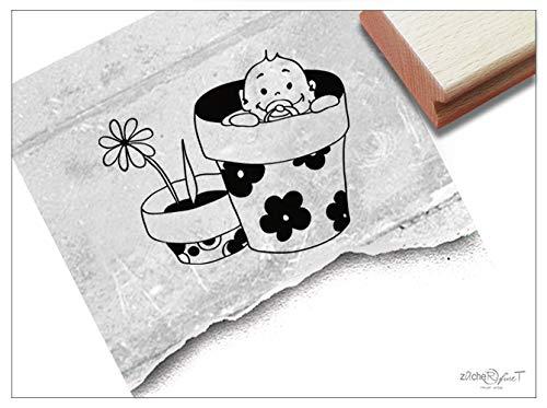 Stempel Motivstempel Baby im Blumentopf - Bildstempel Geburtsstempel Babystempel Geschenk zur Geburt Babykarte Kinderzimmer Deko - zAcheR-fineT