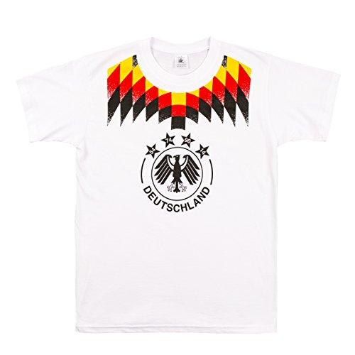 Fußball 2018 WM Fan-Shirt Deutschland für Männer zur WM, Größe:M, Farbe:weiß/karo