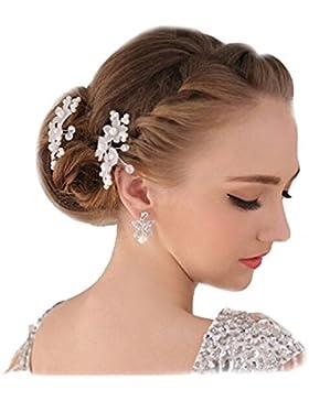 2 XL Haarnadeln Tiara Haarblume Haarschmuck Strass Perlen Hochzeit Kommunion Braut Taufe Haarnadeln XL Haarnadeln