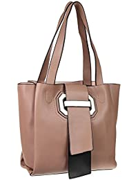 Abrazo Fashionable Peach Color Hand Bag For Women's In Good PU Material