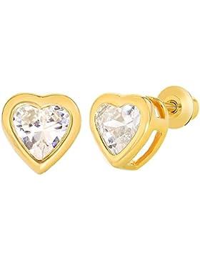 In Season Jewelry Kleinkind Mädchen - Schraubverschluss Ohrstecker Ohrringe Herzform 18k Vergoldet Weiß CZ Zirkonia