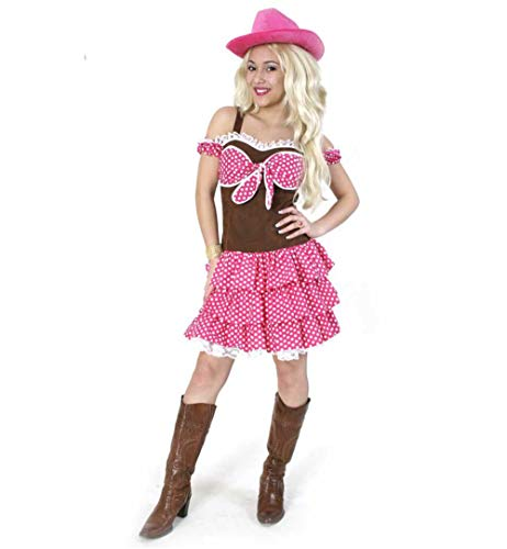 KarnevalsTeufel Damenkostüm Cowgirl Kleid in braun-pink Western Country Wilder Westen (40) (Country Girl Dance Kostüm)