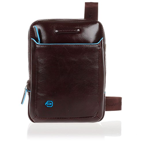 Borsello PIQUADRO organizzato porta iPad mini Blue Square CA3084B2 borsa tracolla regolabile uomo MOGANO borsa pelle PERSONALIZZABILE CON INCISIONE porta iPad mini tasche interne borsello pelle uomo