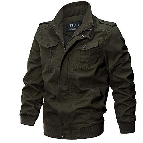 TIFIY Herren Bomberjacke Herbst Winter Militär Jacken Draussen Tactical Verdicken Übergangs Mäntel Sport Strickjacke Windbreaker...