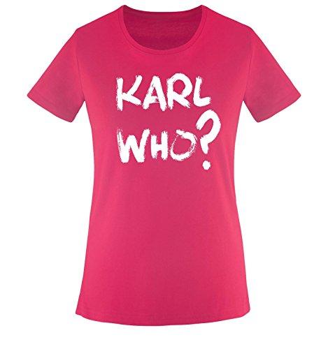 Comedy Shirts - Karl WHO? - Damen T-Shirt - Sorbet/Weiss Gr. XXL