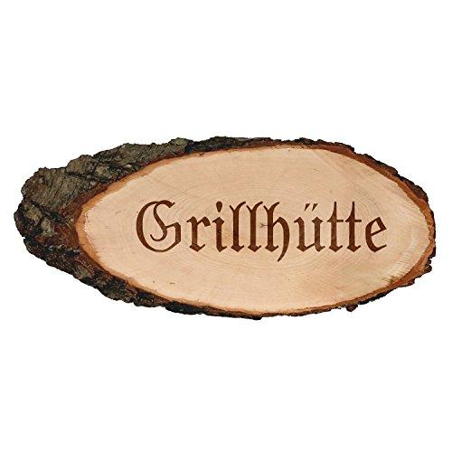 Gravierte ovale Rindenbretter Holzbrett Baumscheibe Türschild, Brettgröße:ca. 60 cm lang, Motiv:Grillhütte