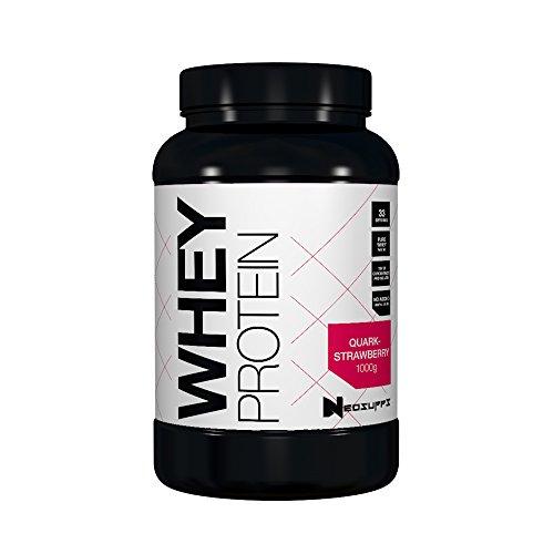 Premium Whey Protein Muskelaufbau & Abnehmen in leckeren Geschmäckern | Low Carb Eiweiß Shake, Eiweiß-Pulver Aminosäuren BCAA | 1kg NeoSupps Protein Pulver Erdbeere Quark, Geschmack Erdbeere Quark